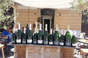 bottles outside wine bar